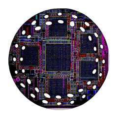 Technology Circuit Board Layout Pattern Round Filigree Ornament (two Sides) by Amaryn4rt