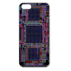 Technology Circuit Board Layout Pattern Apple Seamless Iphone 5 Case (clear) by Amaryn4rt