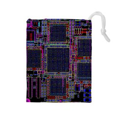 Technology Circuit Board Layout Pattern Drawstring Pouches (large)  by Amaryn4rt