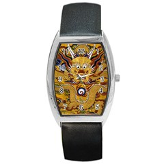 Chinese Dragon Pattern Barrel Style Metal Watch by Amaryn4rt