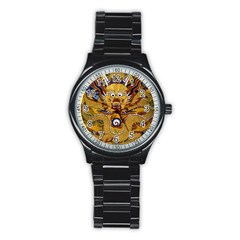 Chinese Dragon Pattern Stainless Steel Round Watch by Amaryn4rt