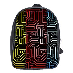 Circuit Board Seamless Patterns Set School Bags(large)  by Amaryn4rt