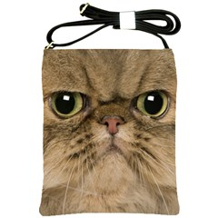 Cute Persian Cat Face In Closeup Shoulder Sling Bags by Amaryn4rt