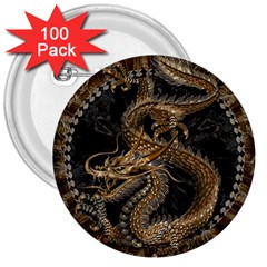 Dragon Pentagram 3  Buttons (100 Pack)  by Amaryn4rt