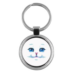 Cute White Cat Blue Eyes Face Key Chains (round)