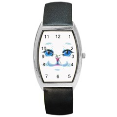 Cute White Cat Blue Eyes Face Barrel Style Metal Watch by Amaryn4rt