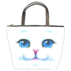 Cute White Cat Blue Eyes Face Bucket Bags by Amaryn4rt