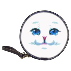 Cute White Cat Blue Eyes Face Classic 20 Cd Wallets by Amaryn4rt
