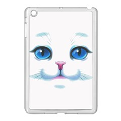 Cute White Cat Blue Eyes Face Apple Ipad Mini Case (white) by Amaryn4rt