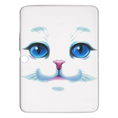 Cute White Cat Blue Eyes Face Samsung Galaxy Tab 3 (10 1 ) P5200 Hardshell Case