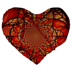Dreamcatcher Stained Glass Large 19  Premium Heart Shape Cushions by Amaryn4rt