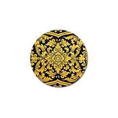Flower Pattern In Traditional Thai Style Art Painting On Window Of The Temple Golf Ball Marker (4 Pack) by Amaryn4rt