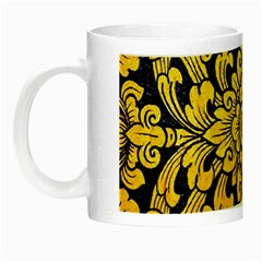 Flower Pattern In Traditional Thai Style Art Painting On Window Of The Temple Night Luminous Mugs by Amaryn4rt