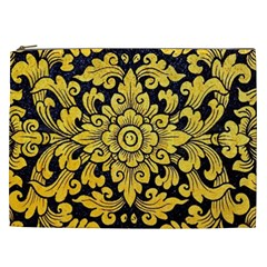 Flower Pattern In Traditional Thai Style Art Painting On Window Of The Temple Cosmetic Bag (xxl)  by Amaryn4rt
