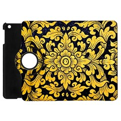 Flower Pattern In Traditional Thai Style Art Painting On Window Of The Temple Apple Ipad Mini Flip 360 Case by Amaryn4rt