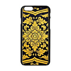 Flower Pattern In Traditional Thai Style Art Painting On Window Of The Temple Apple Iphone 6/6s Black Enamel Case