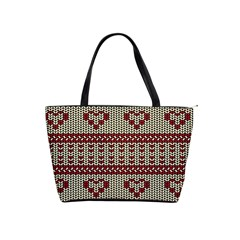Stitched Seamless Pattern With Silhouette Of Heart Shoulder Handbags by Amaryn4rt