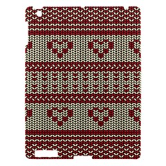 Stitched Seamless Pattern With Silhouette Of Heart Apple Ipad 3/4 Hardshell Case by Amaryn4rt
