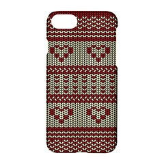 Stitched Seamless Pattern With Silhouette Of Heart Apple Iphone 7 Hardshell Case by Amaryn4rt