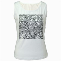 Zentangle Art Patterns Women s White Tank Top