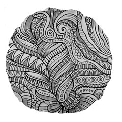 Zentangle Art Patterns Large 18  Premium Round Cushions