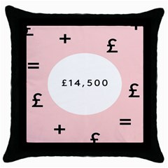 Added Less Equal With Pink White Throw Pillow Case (black)