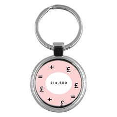 Added Less Equal With Pink White Key Chains (round)
