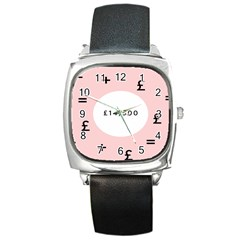 Added Less Equal With Pink White Square Metal Watch