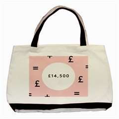 Added Less Equal With Pink White Basic Tote Bag (two Sides)