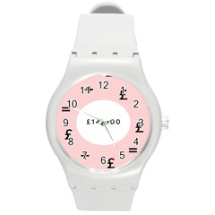 Added Less Equal With Pink White Round Plastic Sport Watch (m)