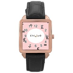 Added Less Equal With Pink White Rose Gold Leather Watch