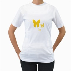 Yellow Butterfly Animals Fly Women s T Shirt (white)