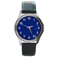Bubbles Circle Blue Round Metal Watch