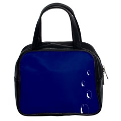 Bubbles Circle Blue Classic Handbags (2 Sides)