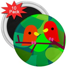 Animals Birds Red Orange Green Leaf Tree 3  Magnets (10 Pack)  by Alisyart