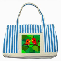 Animals Birds Red Orange Green Leaf Tree Striped Blue Tote Bag by Alisyart