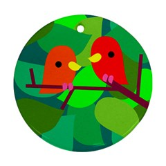 Animals Birds Red Orange Green Leaf Tree Round Ornament (two Sides) by Alisyart