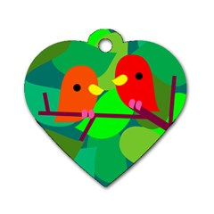 Animals Birds Red Orange Green Leaf Tree Dog Tag Heart (two Sides)