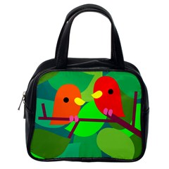 Animals Birds Red Orange Green Leaf Tree Classic Handbags (one Side) by Alisyart