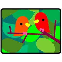 Animals Birds Red Orange Green Leaf Tree Fleece Blanket (large)