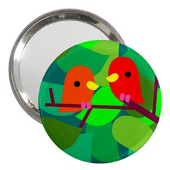 Animals Birds Red Orange Green Leaf Tree 3  Handbag Mirrors