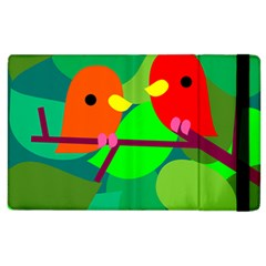 Animals Birds Red Orange Green Leaf Tree Apple Ipad 3/4 Flip Case by Alisyart