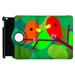 Animals Birds Red Orange Green Leaf Tree Apple Ipad 3/4 Flip 360 Case by Alisyart