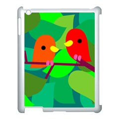 Animals Birds Red Orange Green Leaf Tree Apple Ipad 3/4 Case (white)