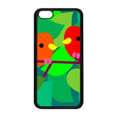 Animals Birds Red Orange Green Leaf Tree Apple Iphone 5c Seamless Case (black) by Alisyart