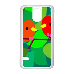 Animals Birds Red Orange Green Leaf Tree Samsung Galaxy S5 Case (white)