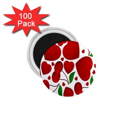 Cherry Fruit Red Love Heart Valentine Green 1 75  Magnets (100 Pack)  by Alisyart