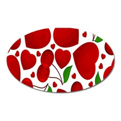 Cherry Fruit Red Love Heart Valentine Green Oval Magnet