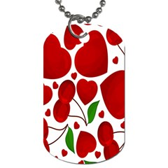 Cherry Fruit Red Love Heart Valentine Green Dog Tag (two Sides)