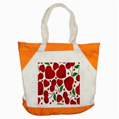 Cherry Fruit Red Love Heart Valentine Green Accent Tote Bag by Alisyart